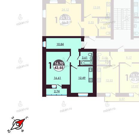 Вариант №408, 1-комнатная квартира в жилом комплексе Ключевой