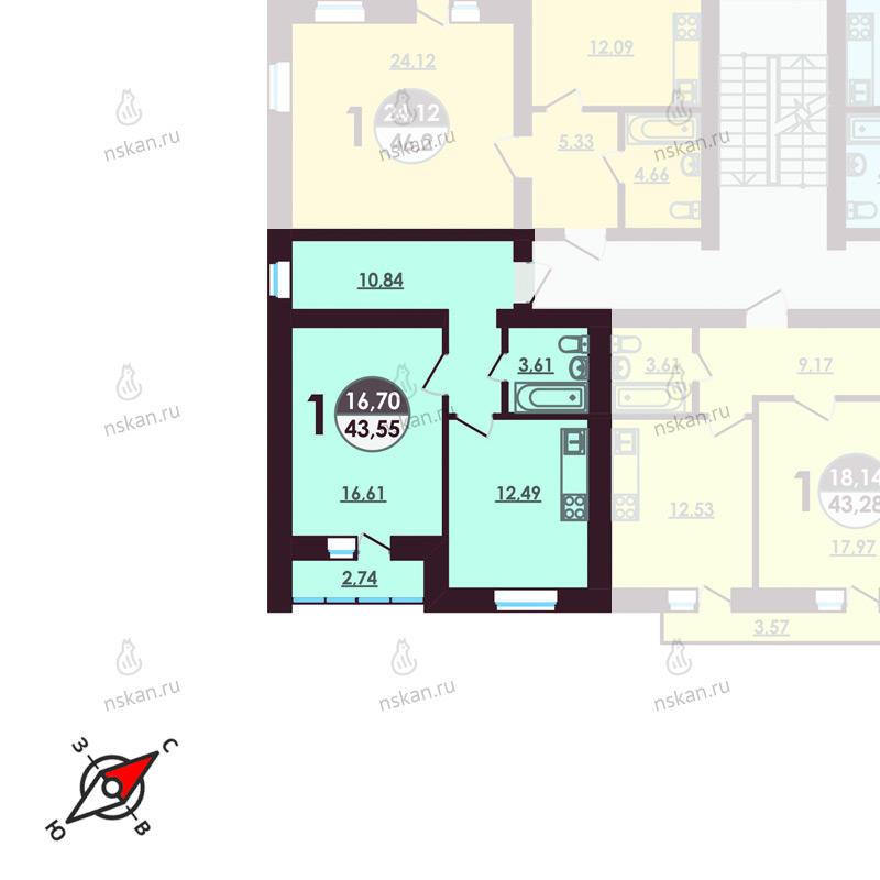Планировка 1-комнатная площадью 43.55 м<sup>2</sup> в ЖК Ключевой