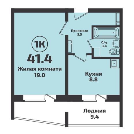 Вариант №5728, 1-комнатная квартира в жилом комплексе