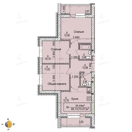 Вариант №2250, 3-комнатная квартира в жилом комплексе