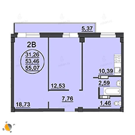 Вариант №1885, 2-комнатная квартира в жилом комплексе