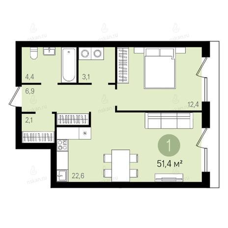 Вариант №2614, 2-комнатная квартира в жилом комплексе Квартал на Никитина