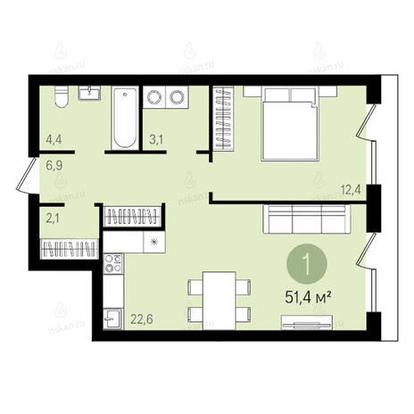 Вариант №2614, 2-комнатная квартира в жилом комплексе