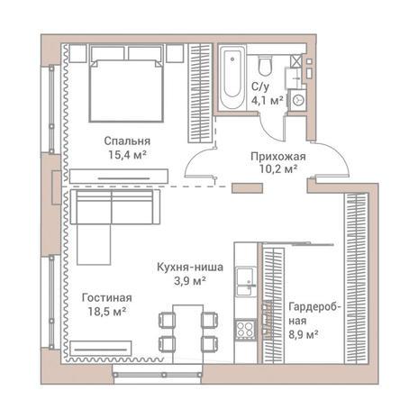 Вариант №3573, 2-комнатная квартира в жилом комплексе