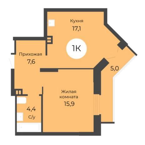 Вариант №5684, 1-комнатная квартира в жилом комплексе