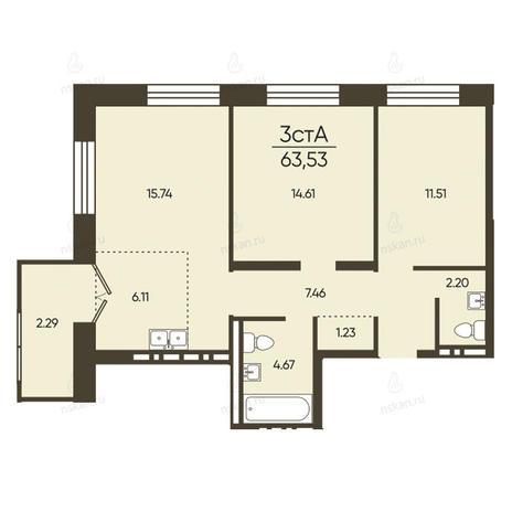 Вариант №2574, 3-комнатная квартира в жилом комплексе Пшеница
