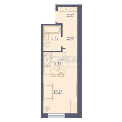 Вариант №3747, 1-комнатная квартира в жилом комплексе
