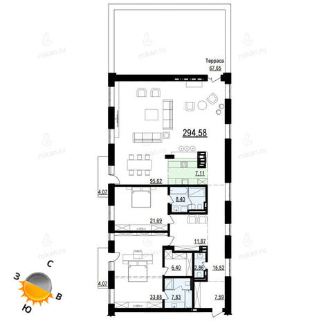 Вариант №888, 3-комнатная квартира в жилом комплексе Жуковка