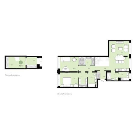 Вариант №6028, 3-комнатная квартира в жилом комплексе