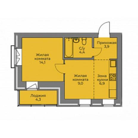 Вариант №4416, 2-комнатная квартира в жилом комплексе Эскимо