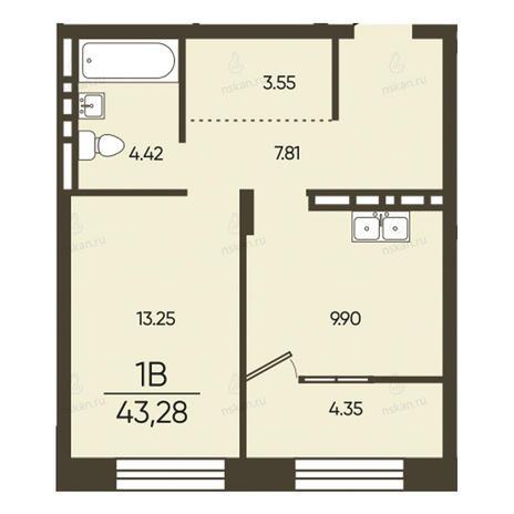 Вариант №2582, 1-комнатная квартира в жилом комплексе