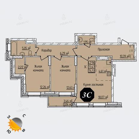 Вариант №1307, 3-комнатная квартира в жилом комплексе Просвещение