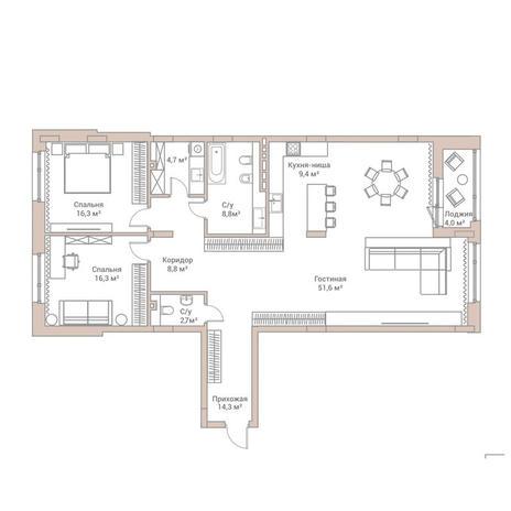 Вариант №3570, 3-комнатная квартира в жилом комплексе