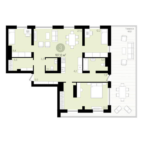 Вариант №3488, 4-комнатная квартира в жилом комплексе Булгаков