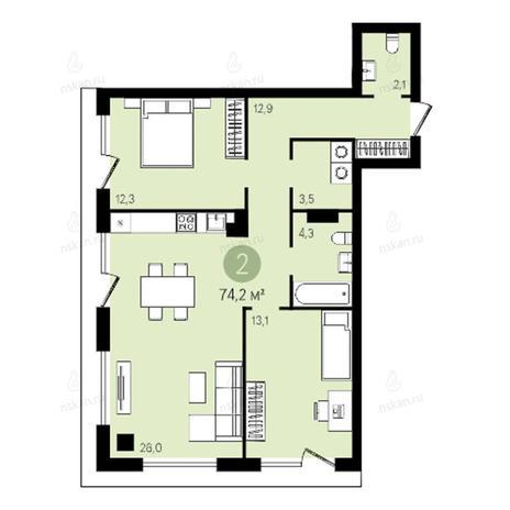 Вариант №2629, 3-комнатная квартира в жилом комплексе Квартал на Никитина