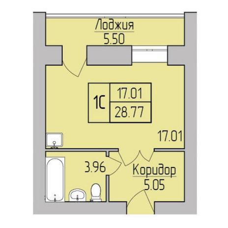 Вариант №5354, 1-комнатная квартира в жилом комплексе