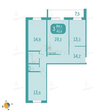 Вариант №2324, 4-комнатная квартира в жилом комплексе Аквамарин