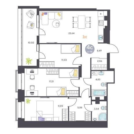 Вариант №5115, 4-комнатная квартира в жилом комплексе Маяк