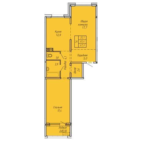 Вариант №6060, 2-комнатная квартира в жилом комплексе