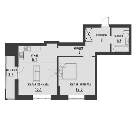 Вариант №4192, 2-комнатная квартира в жилом комплексе Заельцовский