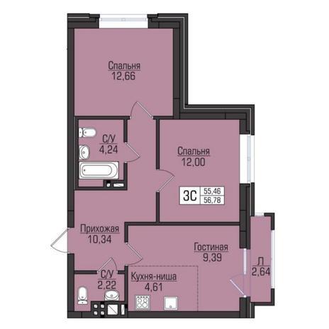 Вариант №5098, 3-комнатная квартира в жилом комплексе Цивилизация