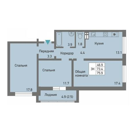 Вариант №4502, 3-комнатная квартира в жилом комплексе Акварельный 3.0
