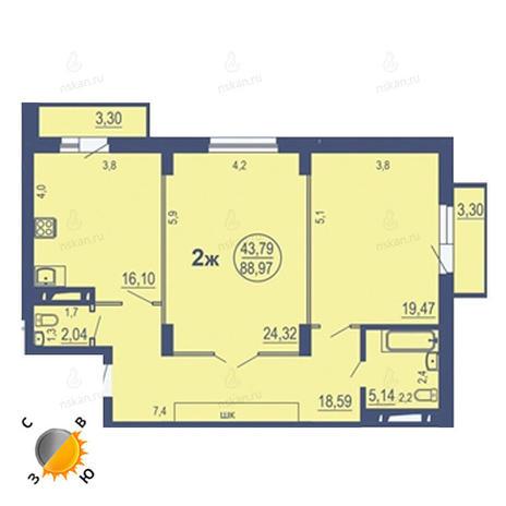 Вариант №1692, 3-комнатная квартира в жилом комплексе На Зыряновской