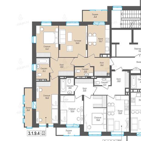 Вариант №862, 3-комнатная квартира в жилом комплексе Пифагор
