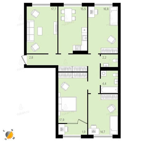 Вариант №2147, 4-комнатная квартира в жилом комплексе