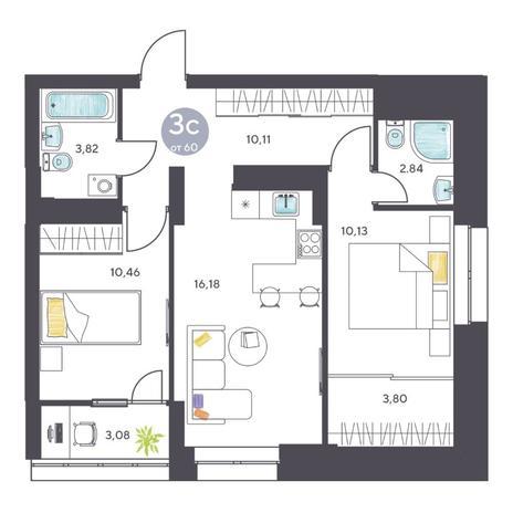 Вариант №5128, 3-комнатная квартира в жилом комплексе Галактика