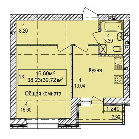 Вариант №6146, 1-комнатная квартира в жилом комплексе