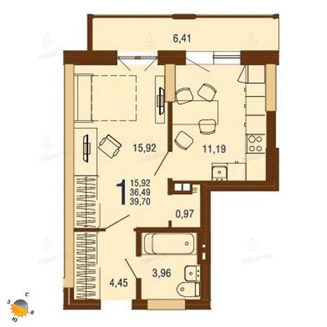 Вариант №1816, 1-комнатная квартира в жилом комплексе На Доватора