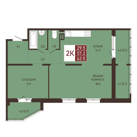 Вариант №3656, 3-комнатная квартира в жилом комплексе Северная корона