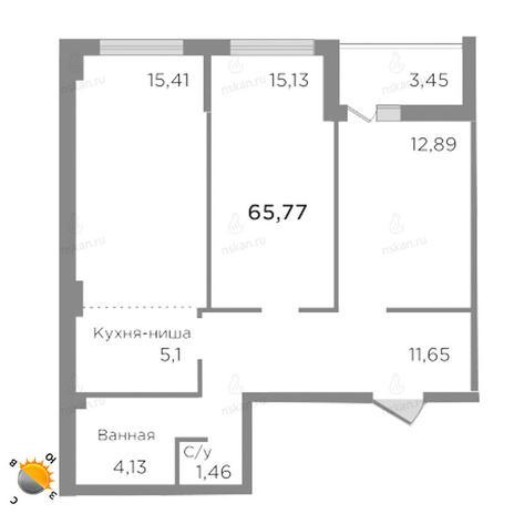 Вариант №1757, 3-комнатная квартира в жилом комплексе Ясный берег