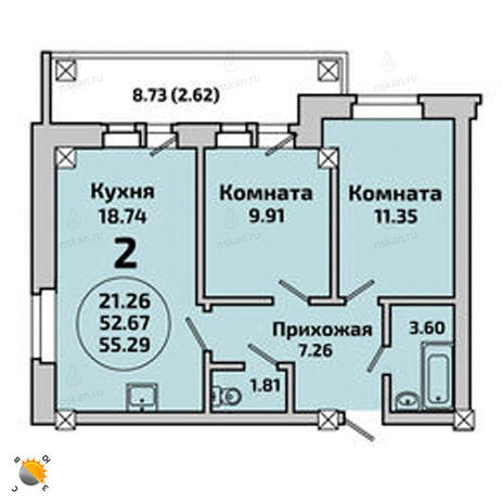 Вариант №1997, 2-комнатная квартира в жилом комплексе Родники