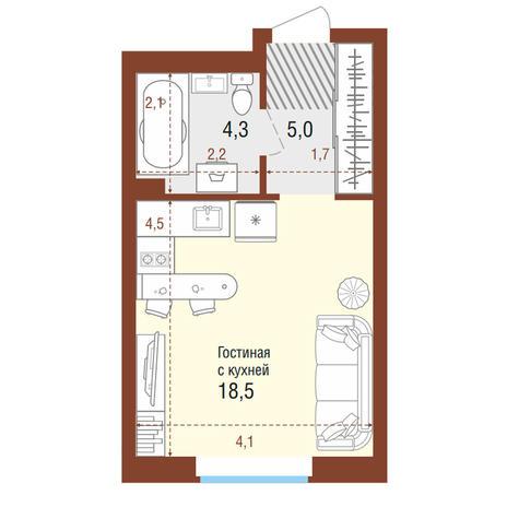 Вариант №4197, 1-комнатная квартира в жилом комплексе Одесса