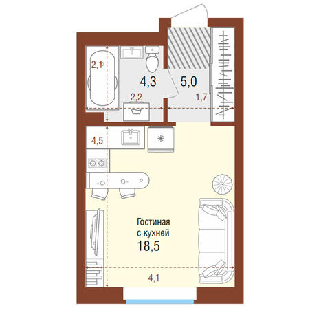 Вариант №4197, 1-комнатная квартира в жилом комплексе
