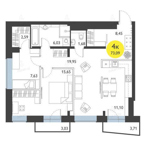 Вариант №2776, 3-комнатная квартира в жилом комплексе Ясный берег