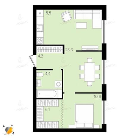 Вариант №2159, 3-комнатная квартира в жилом комплексе