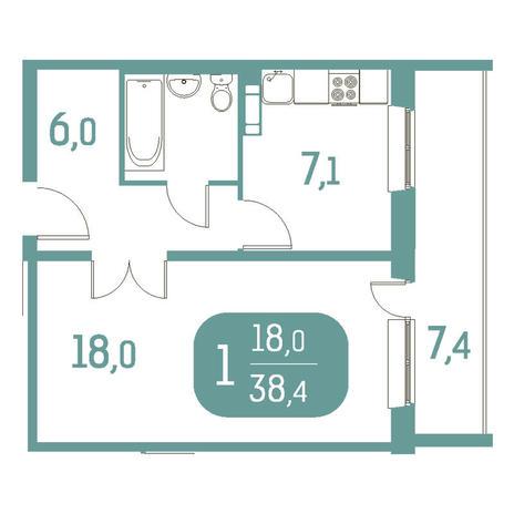 Вариант №2914, 1-комнатная квартира в жилом комплексе Приозерный