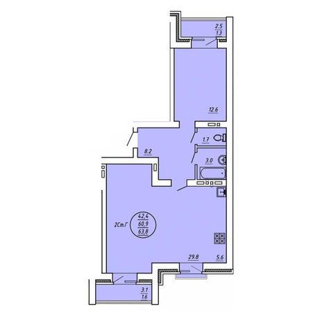 Вариант №3598, 2-комнатная квартира в жилом комплексе История
