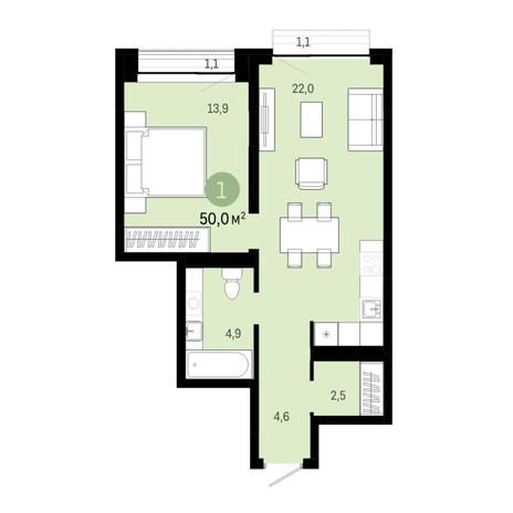 Вариант №6396, 2-комнатная квартира в жилом комплексе