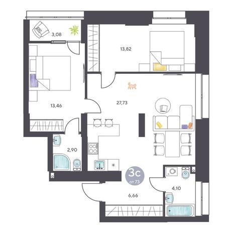 Вариант №5129, 3-комнатная квартира в жилом комплексе