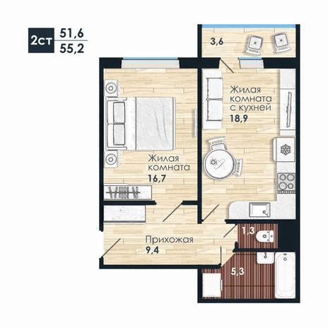 Вариант №5587, 2-комнатная квартира в жилом комплексе