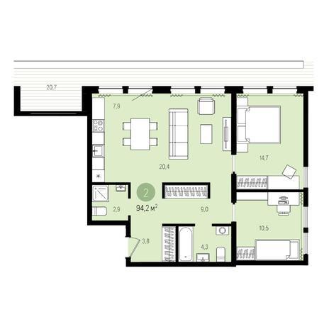 Вариант №5018, 3-комнатная квартира в жилом комплексе Пшеница