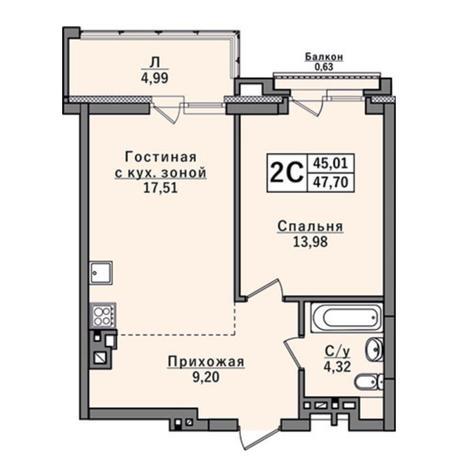 Вариант №2918, 2-комнатная квартира в жилом комплексе