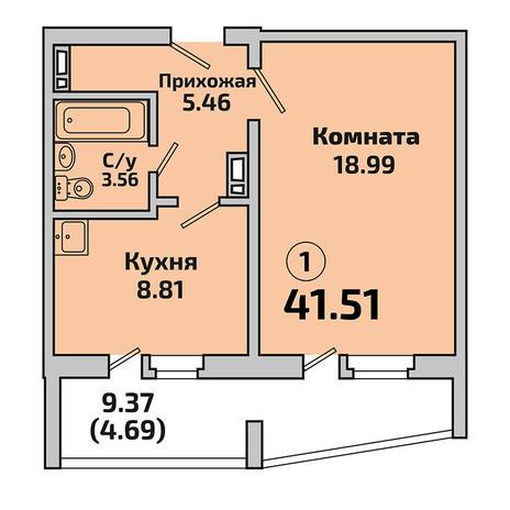 Вариант №3394, 1-комнатная квартира в жилом комплексе