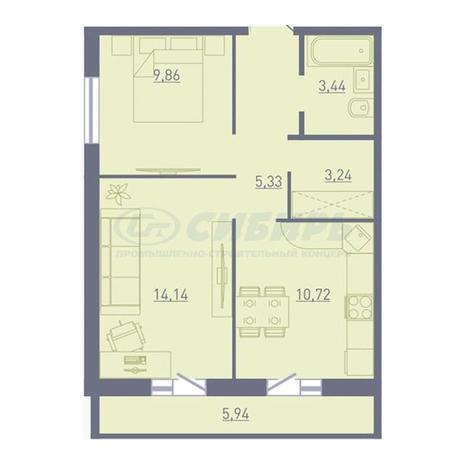 Вариант №3753, 2-комнатная квартира в жилом комплексе
