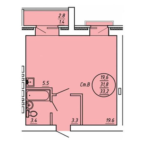 Вариант №3604, 1-комнатная квартира в жилом комплексе