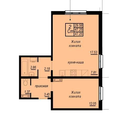 Вариант №4942, 2-комнатная квартира в жилом комплексе